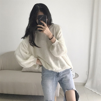 Дамски пуловер с фина плетка и V-образно деколте