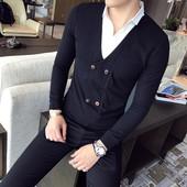 Елегантна мъжка риза с яка в два цвята