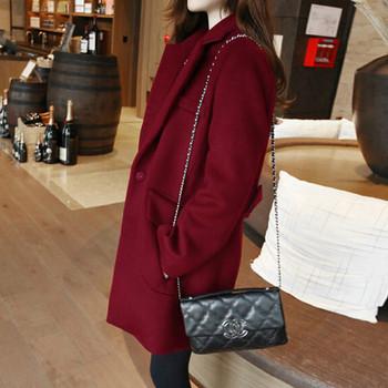 15b02d50374 Дълго дамско есенно-зимно палто в червен, сив и бордо цвят - Badu.bg ...