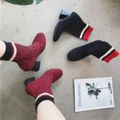 Ежедневни много актуални дамски обувки на висок дебел ток с топло повърхностно покритие стил чорап