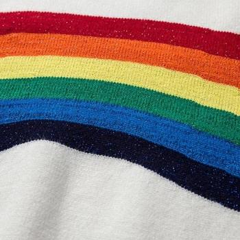 Уникален дамски пуловер с шарени мотиви в цветовете на дъгата , 2 цвята