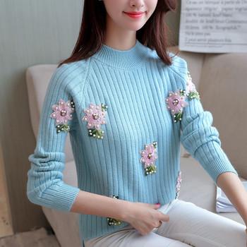 Ежедневен дамкски пуловер с цветя и перли в четири цвята