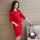 Стилна ежедневна дамска рокля в лилав,червен и черен цвят