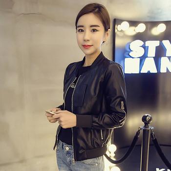 Стилно дамско яке от еко кожа с О-образна яка с декоративен цип на ръкавите в черен цвят