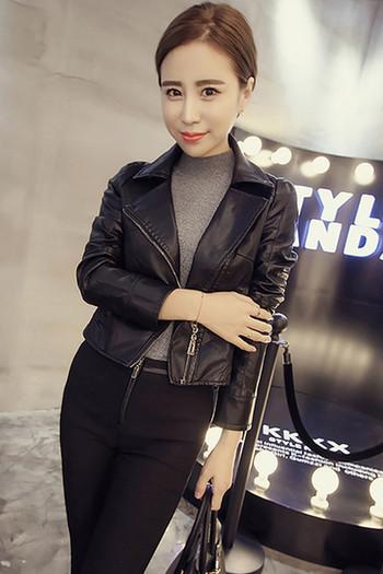 Модерно дамско яке от еко кожа,скъсен модел с декоративен цип на гърба