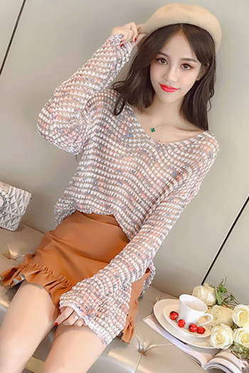 Дамски ежедневен пуловер с широки ръкави