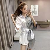 Интересна дамска ежедневна риза с две страни и декоративна панделка-коланче