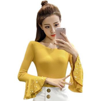 696b019ae71 Дамска блуза с дълъг ръкав, с широки ръкави с перли в няколко цвята ...