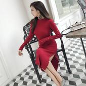 Спортно-елегантна дамска дълга рокля с перли в три цвята