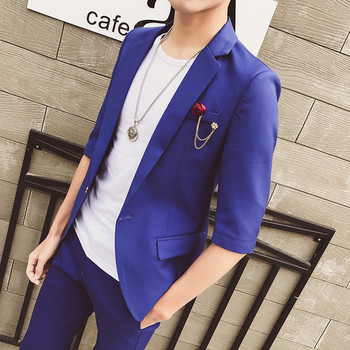 Много стилно мъжко сако с брошка в три цвята