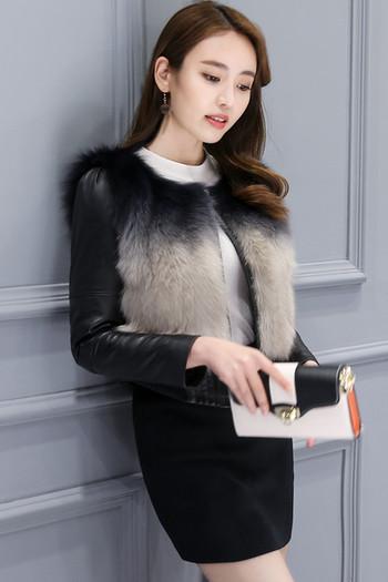 Елегантно дамски яке от еко кожа с пух