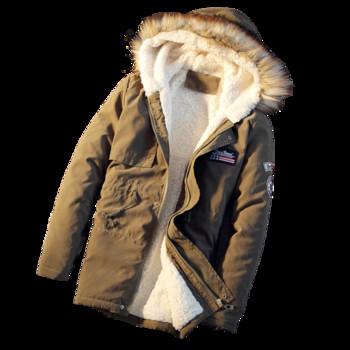 Дълго топло мъжко яке с качулка с пух