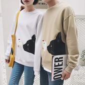Унисекс есенна блуза с дълъг ръкав с интересна апликация