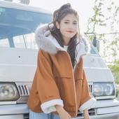 Есенно-зимно палто с качулка за дамите в два цвята