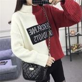 Дамски зимен плетен пуловерс поло яка в два цвята,разични цветове