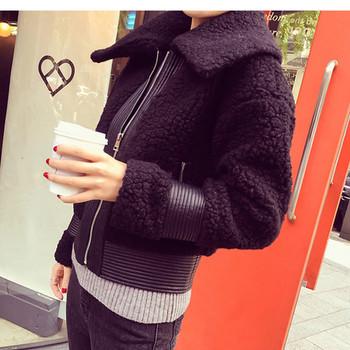 Ежедневно зимно плюшено яке с голяма яка в черен и розов цвят