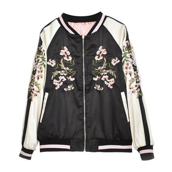 Γυναικείο σακάκι με κολάρο σε σχήμα O και λουλουδάτο