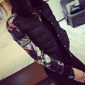 Есенно-зимно дамско яке с О-образна яка и флорални ръкави в черен и бял цвят