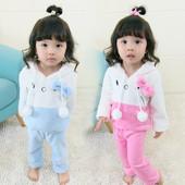 Плюшена детска пижама за момичета в два цвята