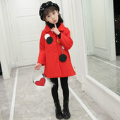 Стилно детско палто за момичета в червен и жълт цвят
