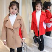 Стилно детско палто за момичета с V-образно деколте