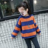 Широк детски пуловер на райе за момичета