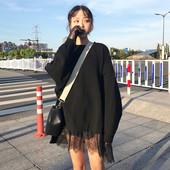 Дамски блузон в свободне стил с дантела в кафяв и черен цвят