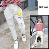 Стилни детски дънки за момичета в бял цвят с ластична талия