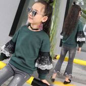 Детска блуза за момичета с дантела на ръкавите