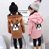 Детско палто с уши за момичета в розов и кафяв цвят
