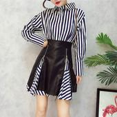 Стилна дамска рокля от две части - пола от еко кожа + дълга риза