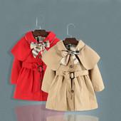 Детско модерно палто за момичета с панделка и коланче в два цвята