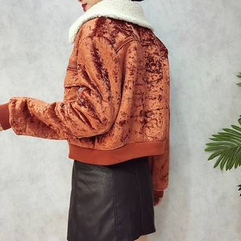Κομψά σύντομο γυναικείο μπουφάν με βελούδινο γιακά σε διάφορα χρώματα