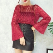 Елегантна дамска блуза в широк модел