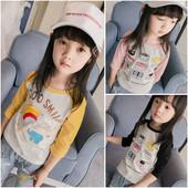 Ежедневна детска блуза с дълъг ръкав за момичета в различни цветове и различни аликации
