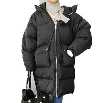 Μακρύ παχύ θηλυκό σακάκι σε ευρύ μοτίβο