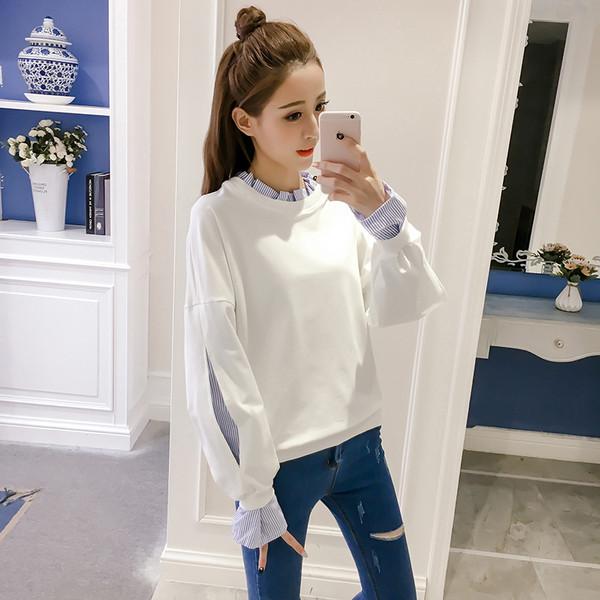 82ff7f2a0b13 Σπορ-κομψό πουλόβερ κυρίες με ραμμένο πουκάμισο σε λευκό και γκρι - Badu.gr  Ο κόσμος στα χέρια σου