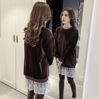 Нестандартен плюшен пуловер с дантела в кафяв и черен цвят