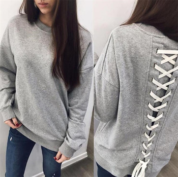 Дамски изчистен пуловер с връзки на целия гръб в сив,черен и червен цвят