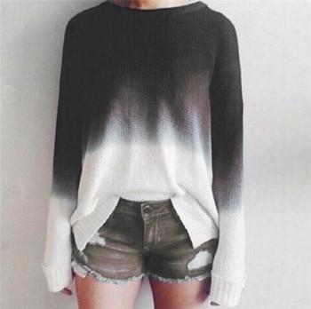 Дамски плетен пуловер в два преливащи цвята