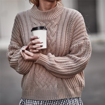 Много топъл ежедневен дамски пуловер с О-образна яка