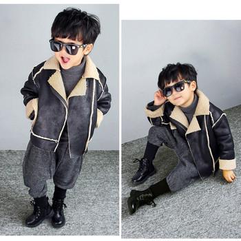 Стилно детско яке с подплата за момчета в черен цвят