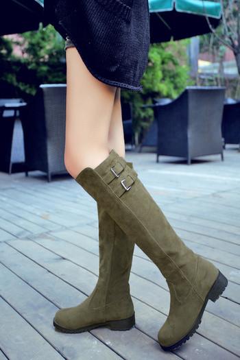 Нови! Модерни дамки ботуши от еко велур в четири цвята