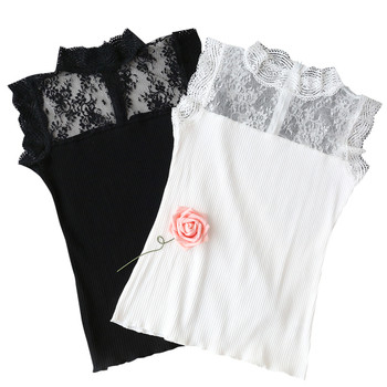 d19f2617d4d5 Μοντέρνο γυναικείο πουκάμισο με δαντέλα δαντέλα σε μαύρο και άσπρο ...