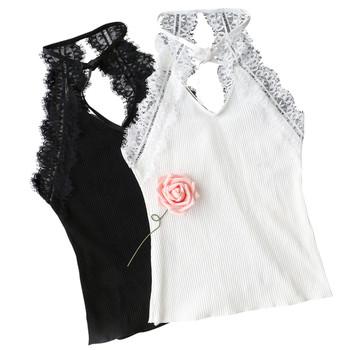 d679f0f5f2e Спортно-елегантен дамски потник с дантела и пандлека в черен и бял цвят
