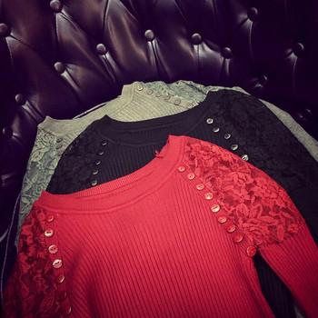 Есенно-зимна дамска блуза с дантелени ръкави в три цвята