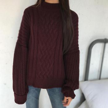 Топъл дамски вълнен пуловер с О-образна яка