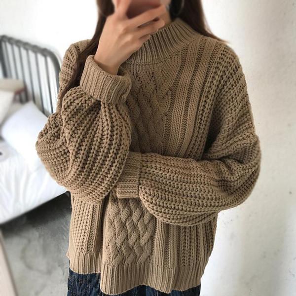 2726e143e2e Топъл дамски вълнен пуловер с О-образна яка - Badu.bg - Светът в ръцете ти
