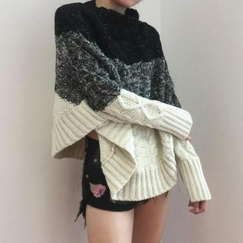 Ежедневен дамски пуловер с дълъг ръкав и висока яка,2 модела