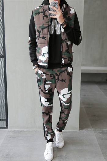 1d19ed7c669 Мъжки спортен камуфлажен комплект от три части-елек,блуза и панталон в два  цвята